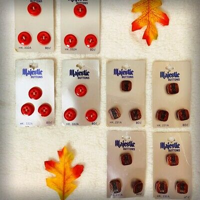 Vintage Antique Majestic Buttons Lot Red Brown Square Round 24 5/8 Old Stock(29)