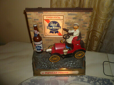 Vintage Rare Pabst Blue Ribbon Beer Lighted Motion Red Car 1950s
