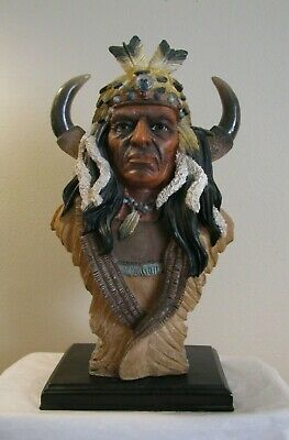 "Native American Indian Warrior Chief Resin Bust On Cherry Wood Base 12"" Detailed"