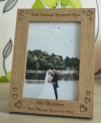Personalised Engraved Wooden Photo Frame Any Text Wedding Birthday Anniversary