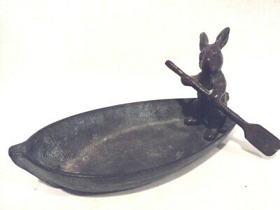 Metal Art BRASS RABBIT IN ROWBOAT Tray Dish Catchall Bunny Verdigris Finish