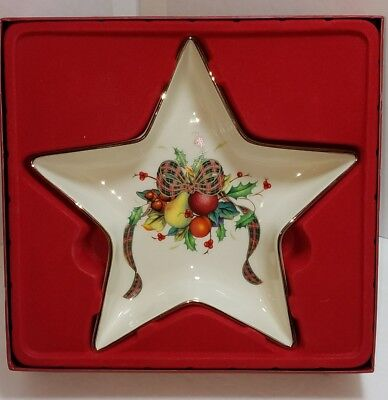 Lenox China Holiday TARTAN STAR Candy Dish Gold Trim NEW with Box Wear