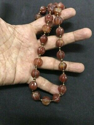 Ancient Rare Old Natural Carnelian Agate Melon Pumpkin Bead Strand Necklace Size
