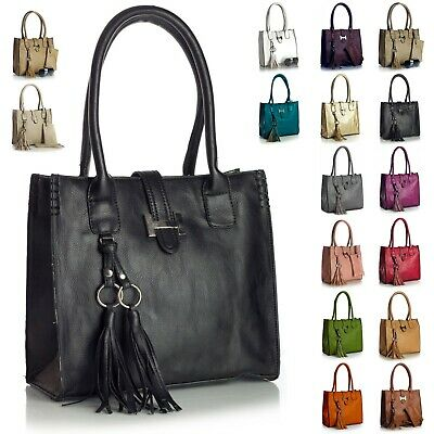 Donna per Vegani pelle Taglia Media Cartella Borsa con Make Up Borsa Borsetta