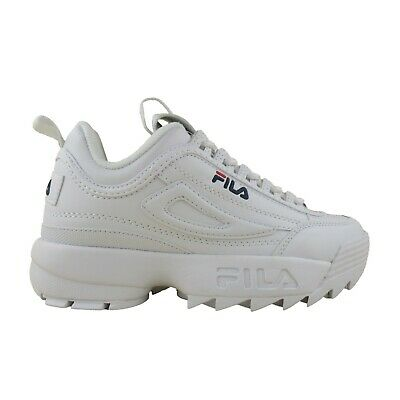 Fila Kids Grade School GS Disruptor II 2 Casual Chunky Sole Shoes White Navy Red