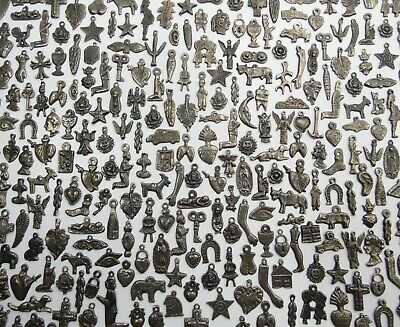 100 MILAGROS old silver color (BLACK) mexican folk art, wholesale lot