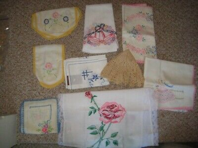 12 Old VTG Table Runners Dresser Scarf Hand- Embroidered Crocheted or Lace Edge