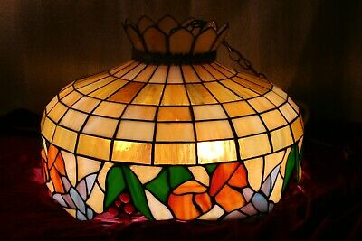 "Large Vintage Stained Leaded Glass Chandelier Light Fixture-Fruit Design 20"" Dia"