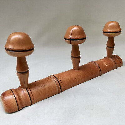 VINTAGE FRENCH 1940s WOOD COAT OR HAT RACK WITH THREE TURNED WOODEN KNOB HOOKS