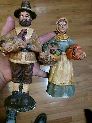 """8"""" Pilgrim Thanksgiving Couple Resin Hand Painted Holiday Table New Old Stock"""