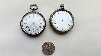 Two Silver Cased Victorian Key Wind Ladies Fob Watches Spares Or Repair.