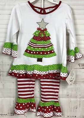Blueberi Boulevard Girls 2pc. Top Pants Christmas Tree Holiday Outfit 24 Months