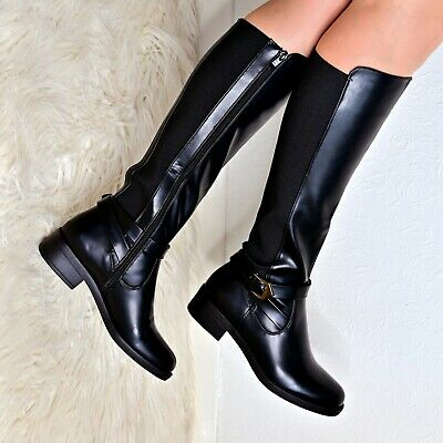 Womens Flat Knee High Boots Casual Stretch Zip Elasticated Leg Ladies Low Heel