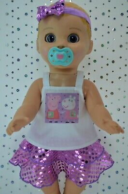 "Play n Wear Dolls Clothes For 17"" Luvabella Doll LILAC SEQUIN SKIRT~TOP~HEADBAND"