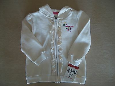 OshKosh B'gosh Girls 18 Mos Cream Colored Hooded Zip Up Sweatshirt NEW WITH TAGS