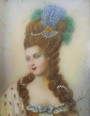 Antique Hand Painted Miniature Exquisite Painting Victorian Woman Queen Signed !