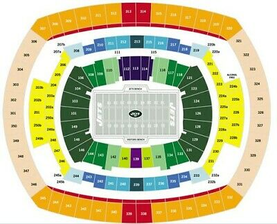 Two NY Jets PSL Seats - MetLife Stadium, Section 123, Row 44, Seats 5 & 6