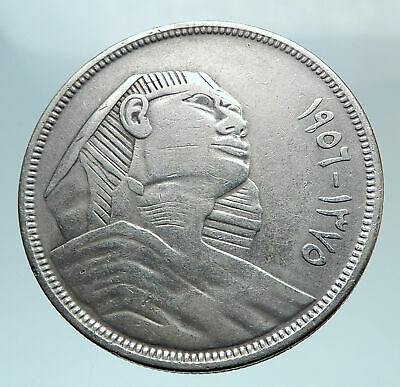 1956 EGYPT Sphinx Griffin Large Genuine Silver 20 Piastres Egyptian Coin i80821