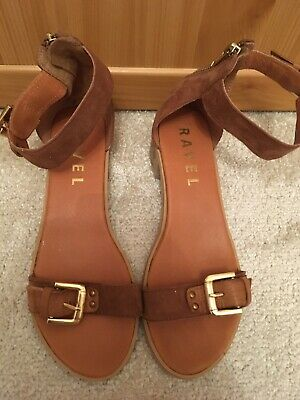 Ladies Ravel Navarro Gold Tan Leather Flat Summer Beach Dress Sandals UK 4