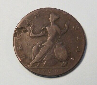 1729 Great Britain Colonial 1/2 Penny British World Coin UK England King George