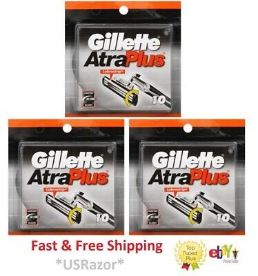 30 Gillette Atra Plus Razor Blades Refills Cartridges (unboxed) Fits Vector Slim