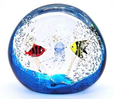 COLORFUL Elio RAFFAELI Art Glass MURANO Fish AQUARIUM Paperweight SCULPTURE