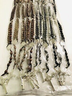 Wholesale Lots 12pcs Religion Rosary Long Wooden Two Color Necklace fast ship