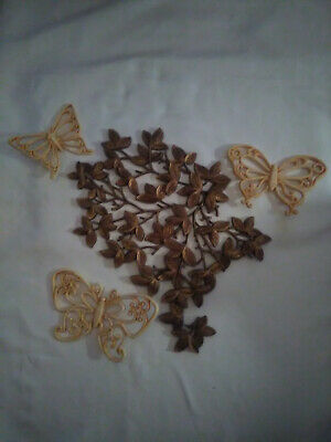 Vintage Mid Century Wall Decor-3 Syroco Butterflies and 1 Trieste Golden Vine