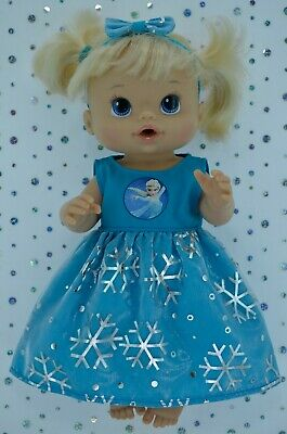 "Play n Wear Dolls Clothes For 13"" Baby Alive  TURQUOISE SNOWFLAKE DRESS~HEADBAND"