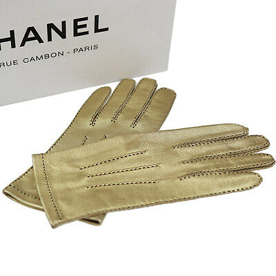 CHANEL CC Logos Ladies Gloves Gold Leather 7 France Vintage Authentic #Z511 W