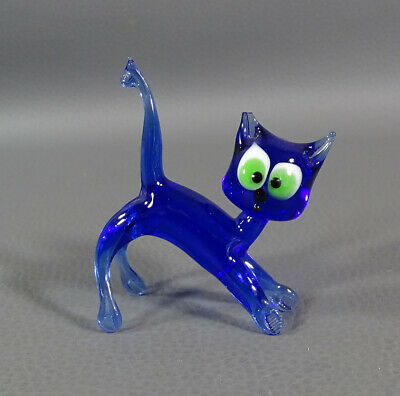 "1960 Italian Murano Art Blown Cobalt Blue Glass Cat Animal Figurine 2 5/8""Figure"