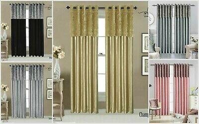 Crushed Velvet Band Silky Faux Silk Eyelet Ring Top Curtains Silver Gold Grey