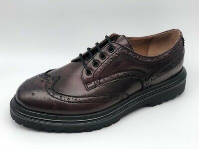 Scarpe Stringate Frau 7225 pelle bordeaux Made in Italy tipo Dr. Martens