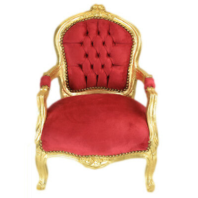 Children Baroque Style Chair Gold / Bordeaux # F11Mb45