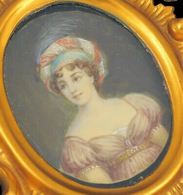 Antique Hand Painted Miniature Painting Victorian Woman Beautiful Exquisite Fine