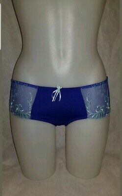 PM3804S Marine Blue Embroidered POUR MOI 'Imogen Rose' Briefs Shorts Size 10