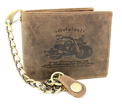 Distressed Leather Biker Motorcycle Genuine Quality Wallet Purse Chain Key Chain