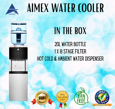 Aimex Water Awesome Cooler Dispenser 8 Stage Filter Floor Standing 20L Black&Sil