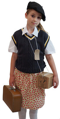 1940s Wartime History Day Tank Top-Beret-Skirt-Gas Mask Box & Small Suitcase SET