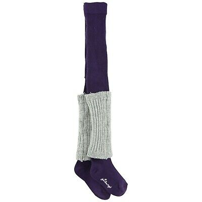 JEAN BOURGET Purple knitted winter tights with silver legwarmers 19/22 23/24