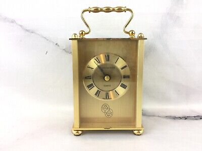 Portsmouth Clock Gold Tone Mantle Table Quartz Brass Made In Germany