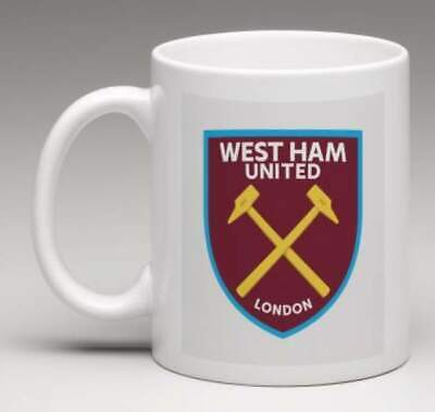 WEST HAM FC Retro WHU Club Badge Personalised HAMMERS Football Mug Gift  MWHU2
