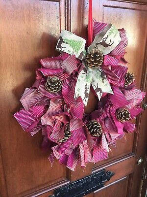 Christmas Wreath Eco Handmade Upcycled Fabric Shabby Chic Unique Reusable Red