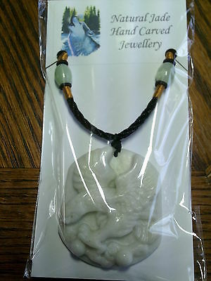 .Handcarved White Jade Pendant Of  Yin [Eagle] & Necklace Cord