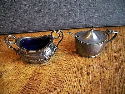 Antique 1940's EPNS Silver Plated Miniature Sugar Bowls with Blue Glass Liner