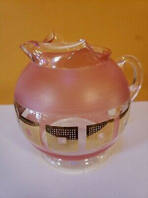Vintage Antique Mid Century Pink Gold Glass Pitcher Starburst Style 1950s