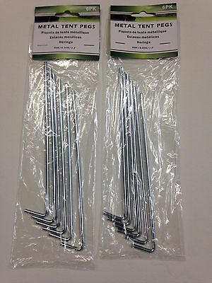 """Set of 12 Metal 7/"""" Tent Pegs Stakes"""