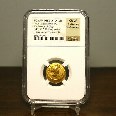 44 BC JULIUS CAESAR av Aureus Ancient GOLD Coin 7.67g NGC Choice VF 4/5 4/5 RARE