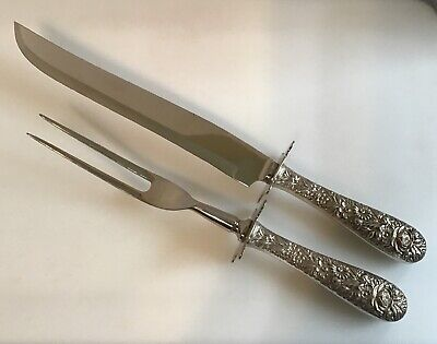 S Kirk & Son Repoussé Sterling Antique Ornate LARGE Carving Set Knife Fork