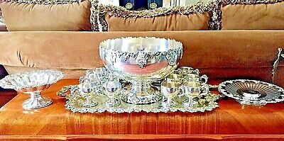 "International Silver, ""Vintage"" Punch Bowl Set, Ladle,12 Cups & 4 Trays, ca.1900"